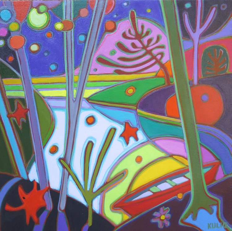 Small Canvases - Sunset Salutations 16 x 16 - Darlene Kulig