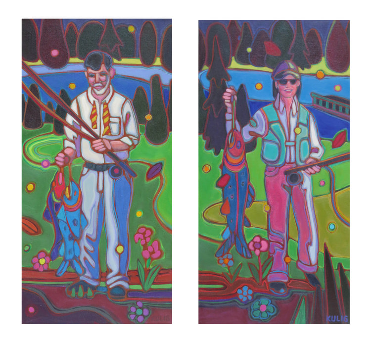 Small Towns & Villages - Fisher's - The Big Catch 24 x 12 x 2 Diptych - Darlene Kulig