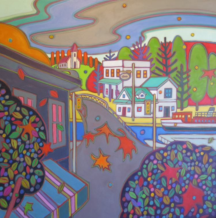Small Towns and Villages - Afternoon Cruise in Dorset 30 x 30 - Darlene Kulig
