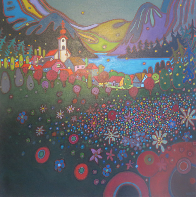Small Towns and Villages - Attersee Village Early Evening 36 x 36 - Darlene Kulig