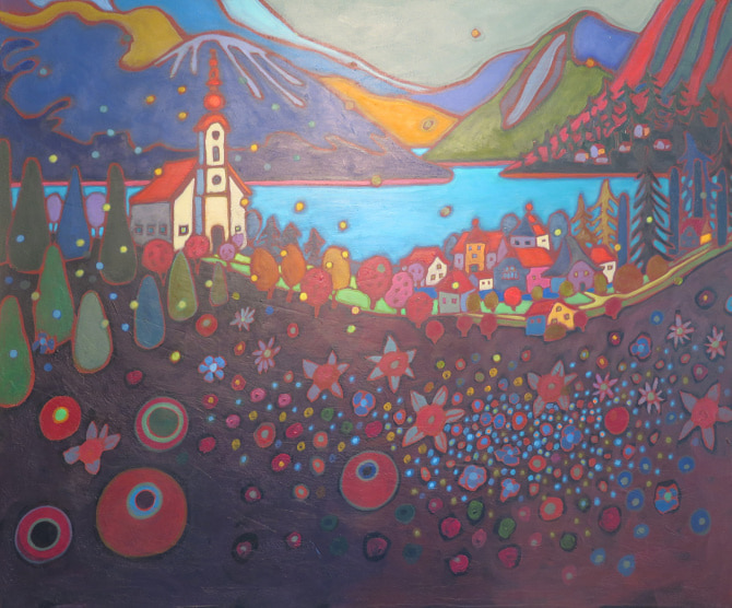 Small Towns and Villages - Attersee Village in Spring 30 x 36 - Darlene Kulig