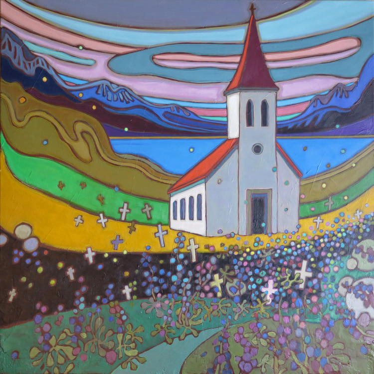 Small Towns and Villages - Church with Lupin Field in Iceland - Darlene Kulig