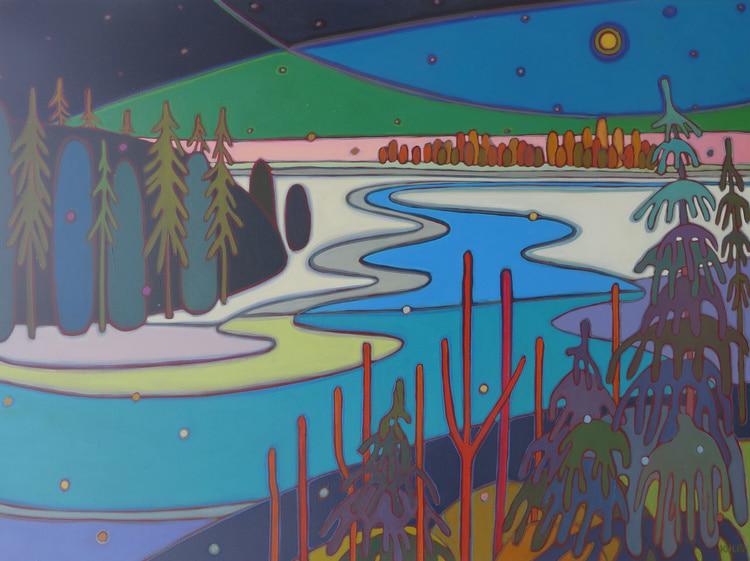 Winter Wonderland - Moon RIver Gently Flowing 48 x 36 - Darlene Kulig