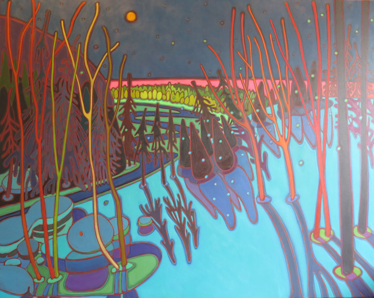 Winter Wonderland - Moon River 60 x 40 - Darlene Kulig