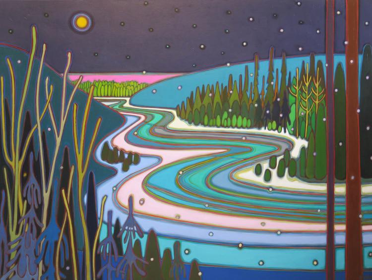 Winter Wonderland - Moon River Currents 36 x 48 - Darlene Kulig
