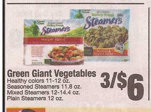 Printable coupon for green giant steamers