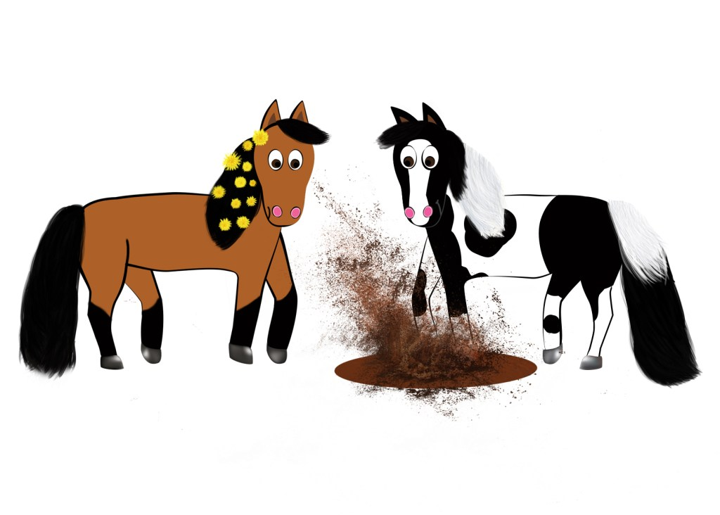 Cute Cartoon Horses from the children's book Riki and J.R. The Big Bad Scary Mud Puddle