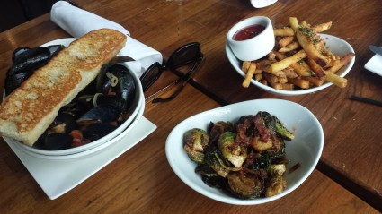 Mussels, brussel sprouts, and fries... Loved the mussels!