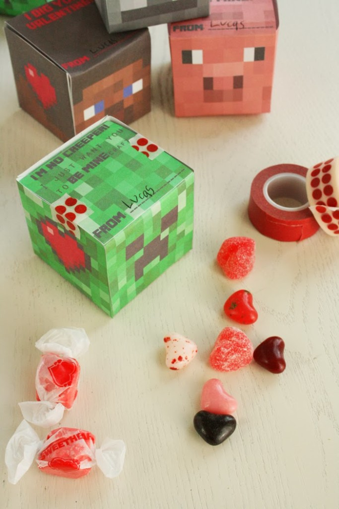 photograph regarding Minecraft Valentine Box Printable identify Minecraft Valentine 3-D Dice Box - Darling Darleen A