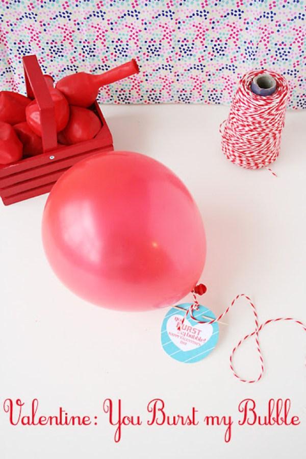 balloon valentine, burst my bubble, valentine printable, free printable valentine