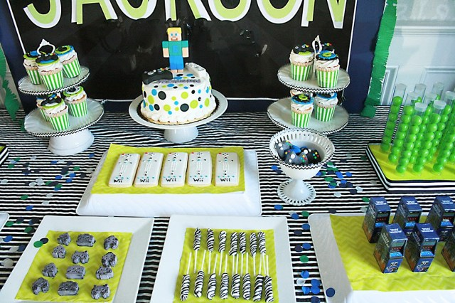 video game birthday party, wii controller cookies, space invader, video controller party favors