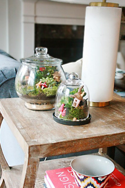 Irish village terrarium for St. Patricks day decoration or leprechaun trip