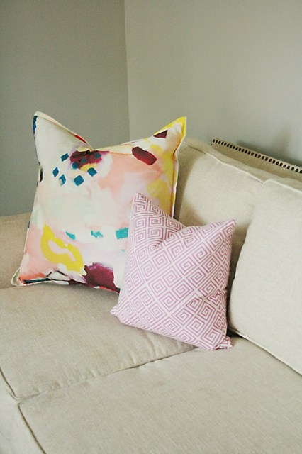 caitlin wilson and britt bass pillows on white sofa