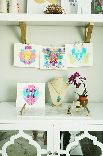 diy, watercolor, inkblot, artwork, darling darleen, office decor