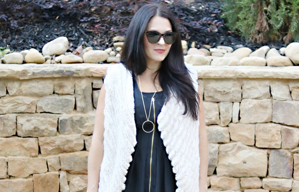 Fur Vest and Everyday Black Dress