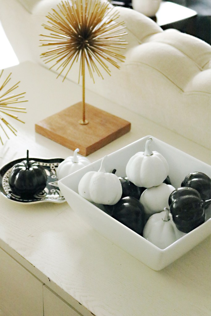 Modern Halloween Decorations Black and White Pumpkins || Darling Darleen