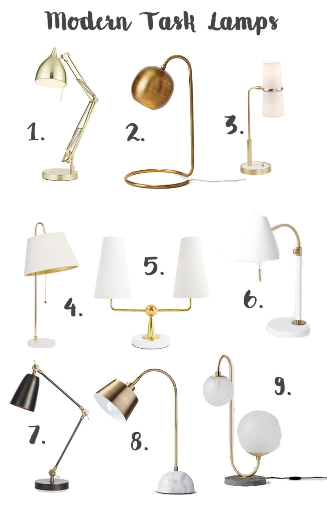modern task gold lamps, arm lamps, table lamps