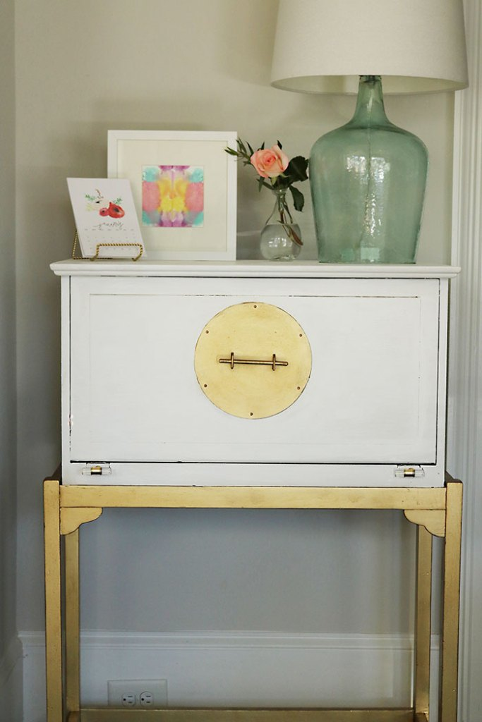 how-to-paint-furniture-white-and-gold-without-sanding