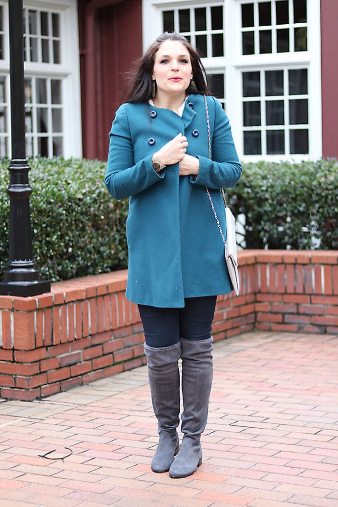 Over the Knee Boots Winter Coat | Darling Darleen steve madden mom style winter outfits