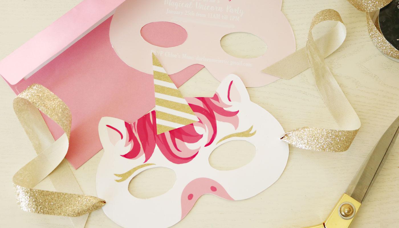 image about Printable Unicorn Mask titled Unicorn Mask Invitation: No cost Printable - Darling Darleen