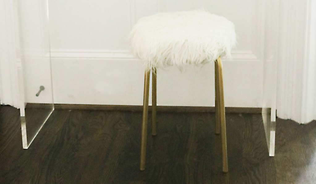 DIY Ikea Hack White Fur Stool