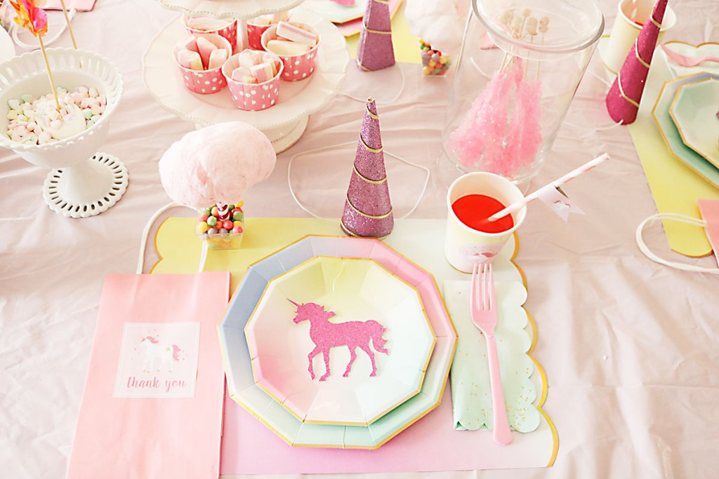 unicorn birthday party, ombre plates, unicorn birthday party ideas, girls birthday, cotton candy, cricut projects