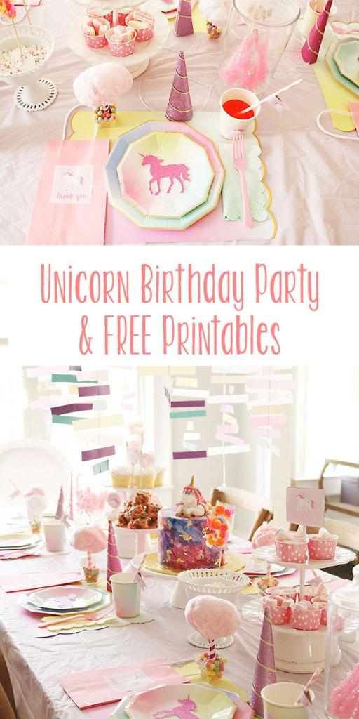unicorn-birthday-party-free-printables, unicorn birthday party ideas, cotton candy, birthday party for girls