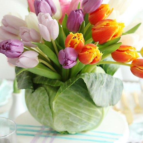 DIY: Tulip Cabbage Flower Arrangement for Easter