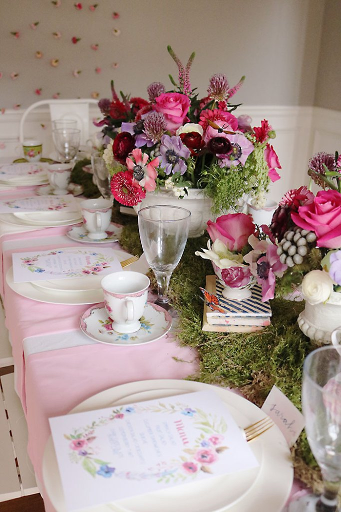 Indoor garden tea party for a shower darleen meier jewelry for Garden table decorations