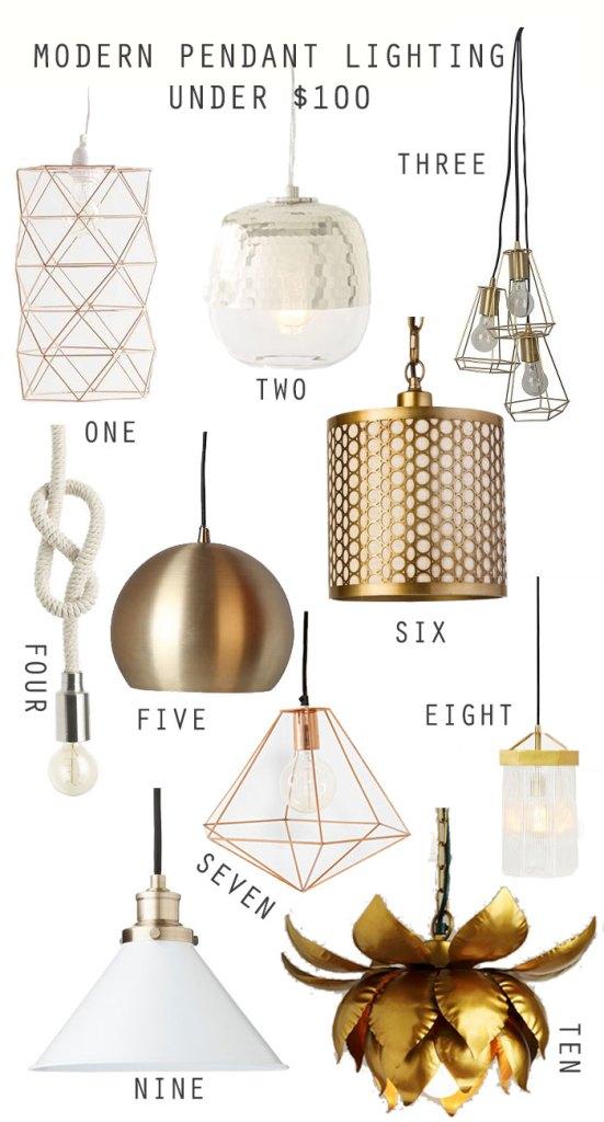 MODERN-LIGHTING-UNDER-$100, modern lights, brass lighting, cheap lighting, under $100 lighting, simple lighting