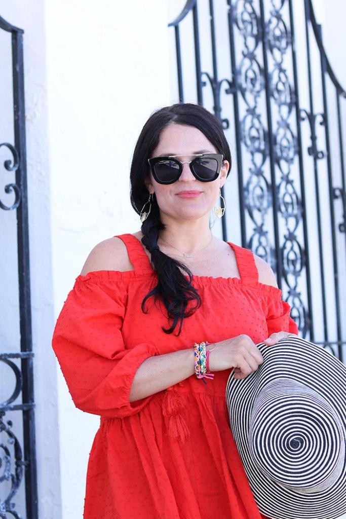 beach-red-dress-sunglasses