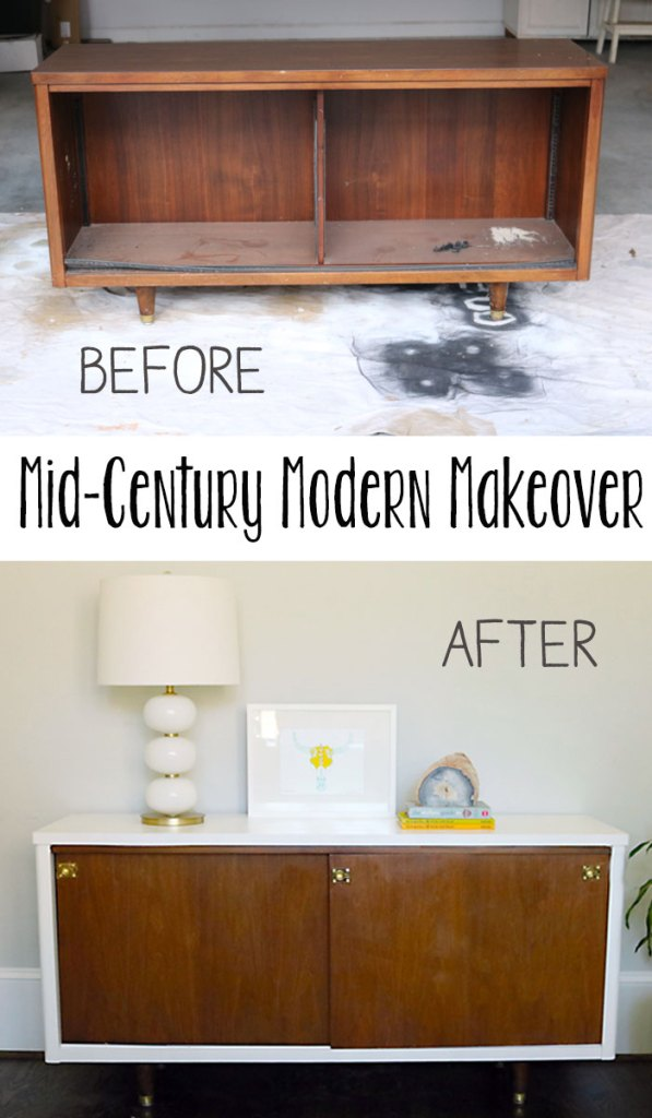 midcentury-lacquer-project-before-and-after, mid-century Modern credenza makeover, amy howard at home lacquer paints, lacquer paints, diy, spray paint, budget friendly project