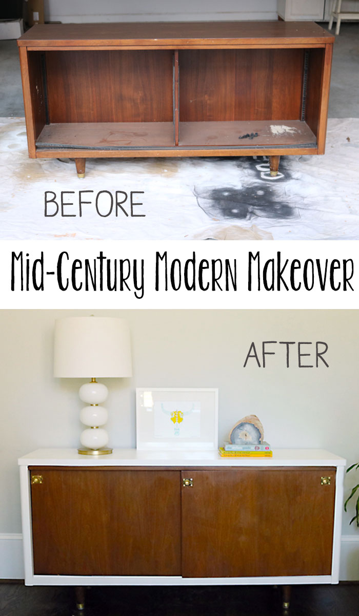 before after lacquer midcentury modern credenza makeover - Modern Credenza