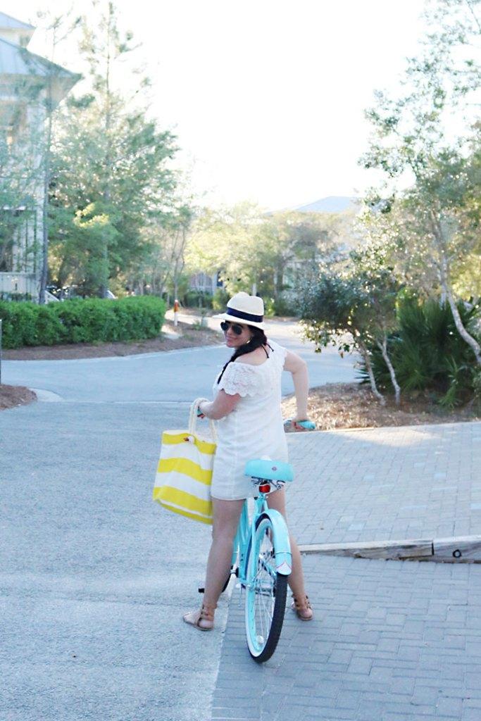 off-the-shoulder-dress-on-bike-with-bag