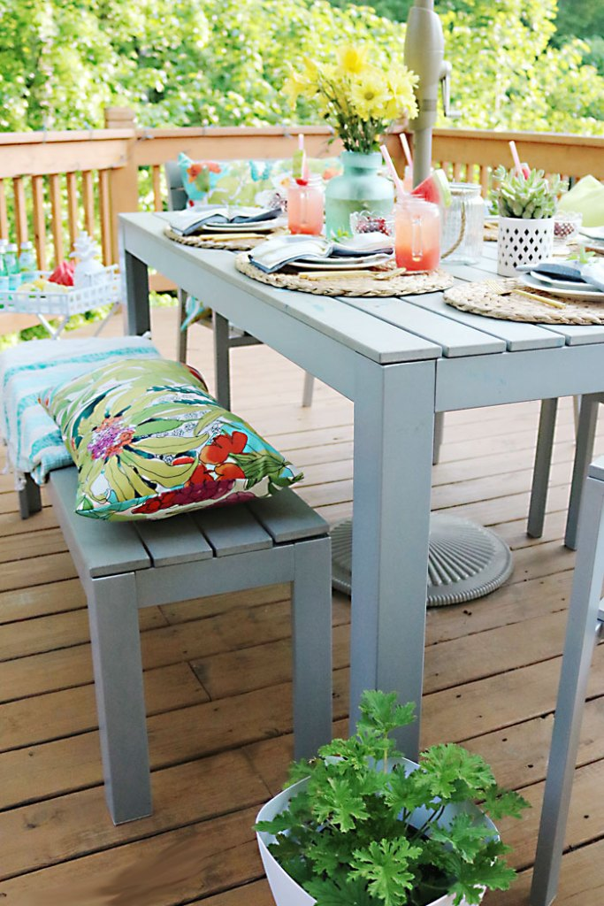 patio-table-setting-spring-summer, cherries-in-a-bowl-on-table, 10 tips for the perfect outdoor backyard party, bbq, barbecue, barbeque, backyard dinner, ideas, tips