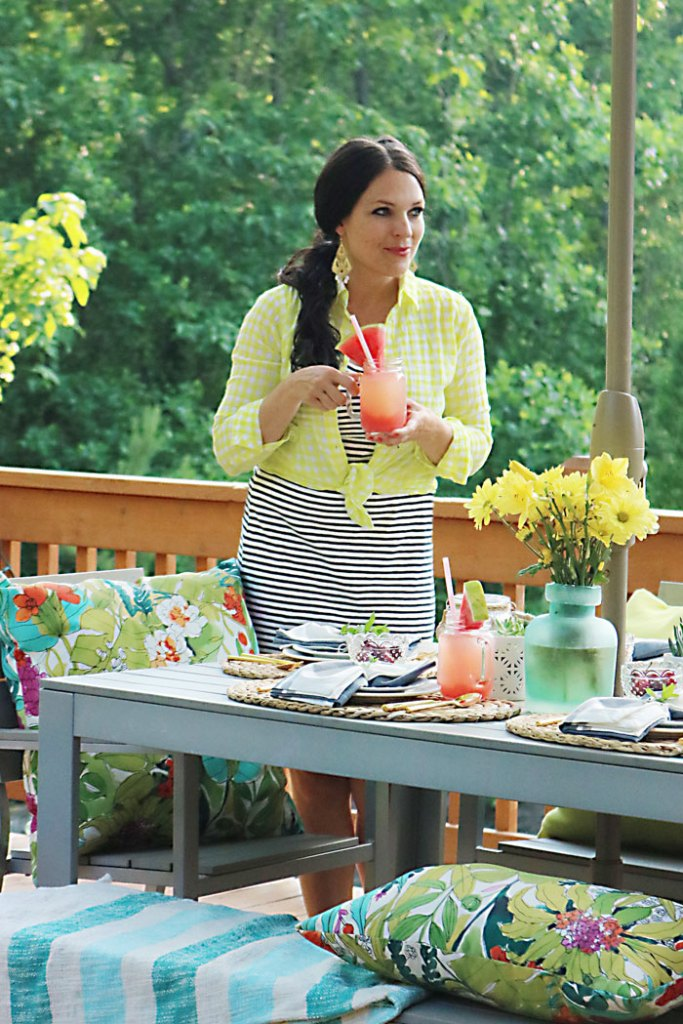 sipping-on-watermelon-lemonade, cherries-in-a-bowl-on-table, 10 tips for the perfect outdoor backyard party, bbq, barbecue, barbeque, backyard dinner, ideas, tips, what to wear to a backyard barbecue party