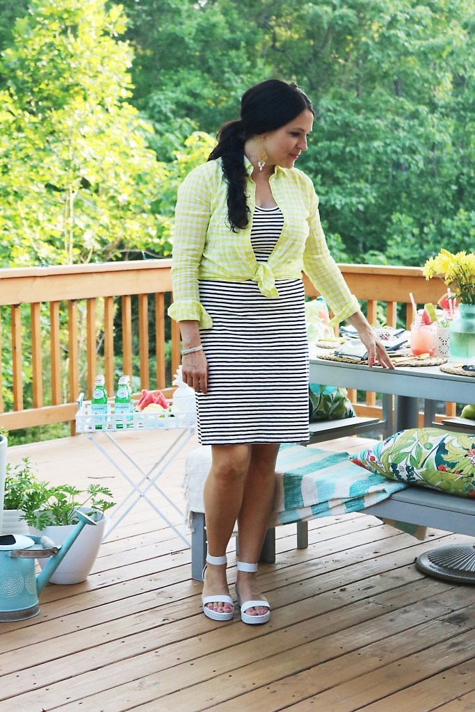 stripe and gingham outfit, cherries-in-a-bowl-on-table, what to wear to a backyard party barbecue, 10 tips for the perfect outdoor backyard party, bbq, barbecue, barbeque, backyard dinner, ideas, tips