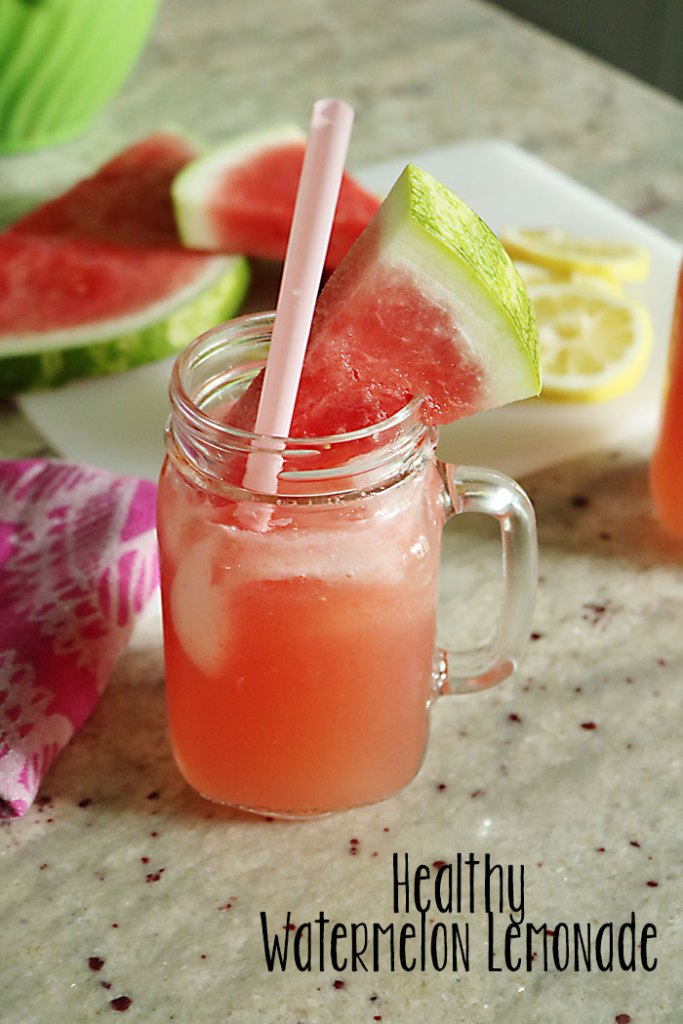 watermelon-lemonade-in-cup-with-words, tasty and healthy -lemonade, healthy lemonade, freshly squeezed lemons, watermelon, honey lemonade, honey simple syrup,watermelon simple syrup, summer drinks, lemons