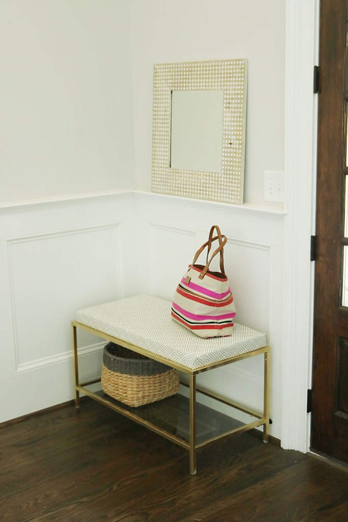 DIY-metal-ikea-bench-with-cushion, ikea hack, caitlin wilson fabrics, metal bench, modern gold bench, foyer bench