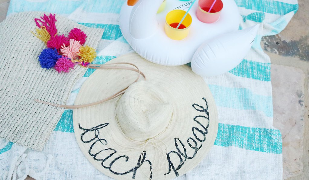 DIY Word Script Beach Hat