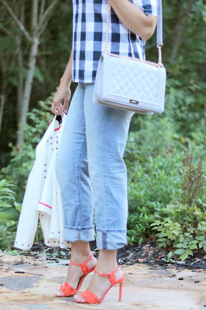 plaid-shirt-with-heels-and-chanel-like-bag