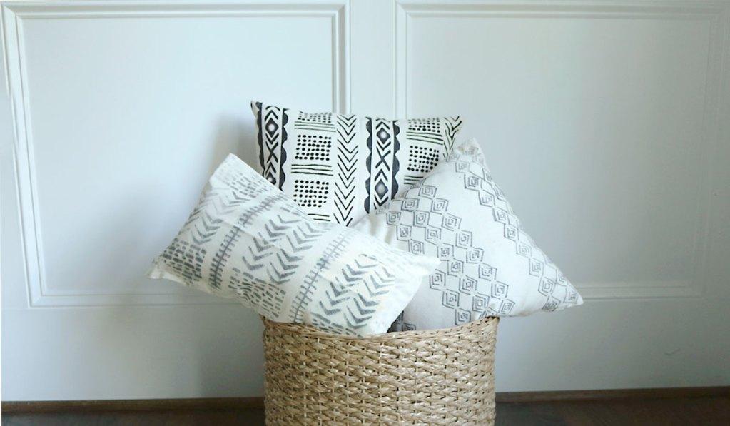 DIY Mud Cloth Pillow Using Freezer Paper