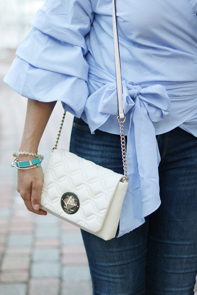 ruffled-shirt-with-kate-spade-purse