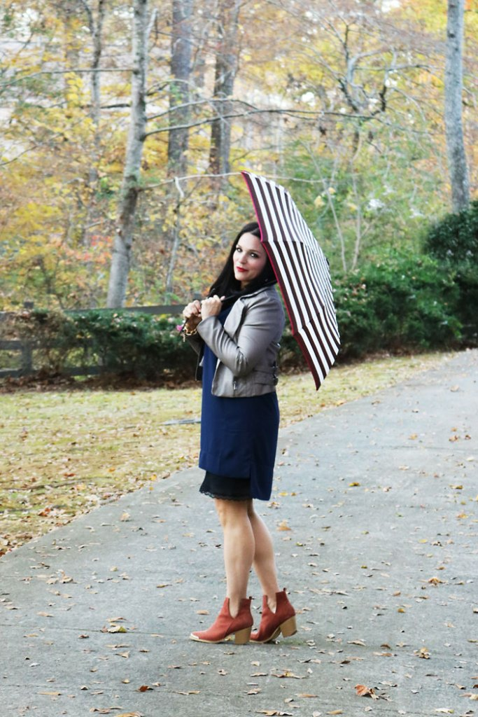 fall-fashion-finds-with-booties-and-umbrella, fall-finds-sale-with-striped-umbrella, henri bendel, striped umbrella, shift dress, jeffrey campbell booties
