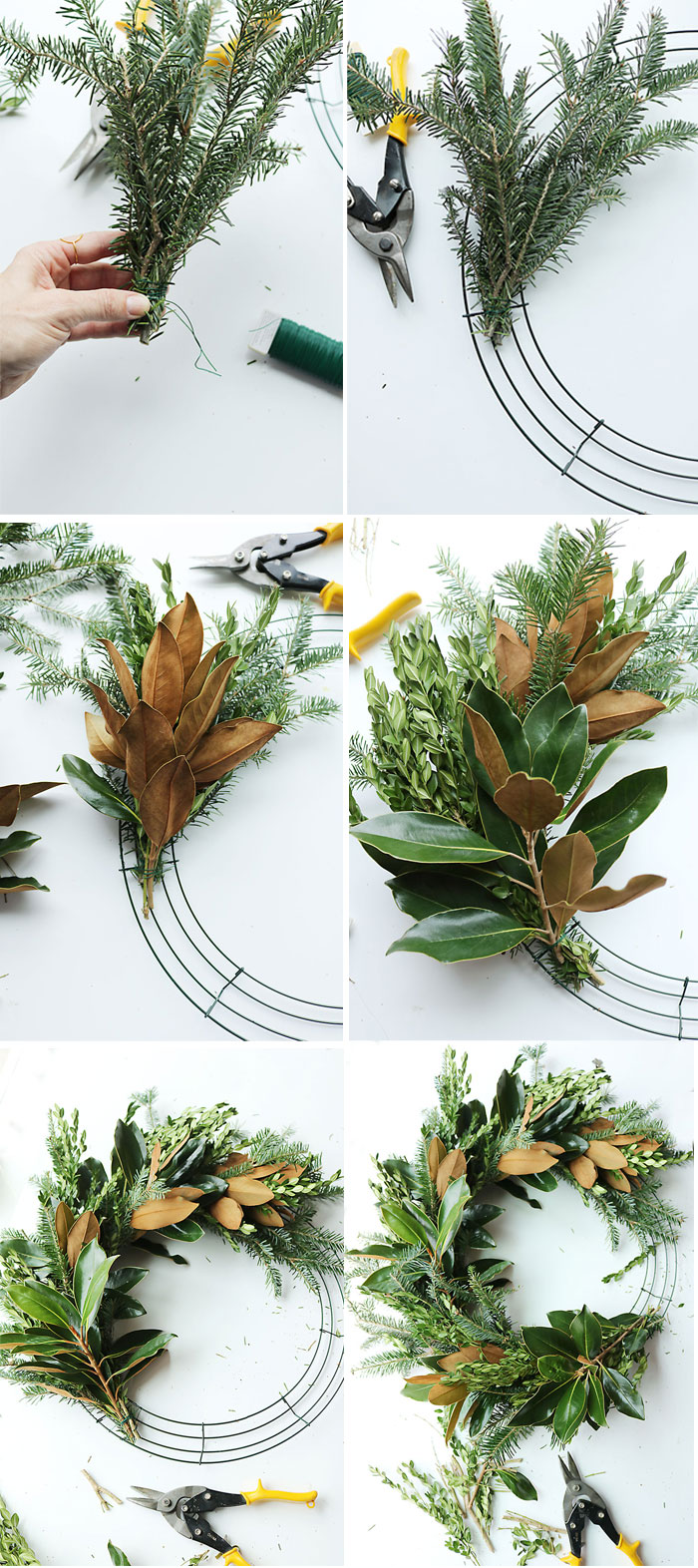 magnolia-wreath-diy-step-by-step, magnolia-wreath-diy, magnolia wreath diy, magnolia christmas decoration, southern christmas, christmas wreath diy, how to make a magnolia wreath tutorial, mixed branch christmas wreath, cedar wreath, instructions, how to make wreath, DIY wreath