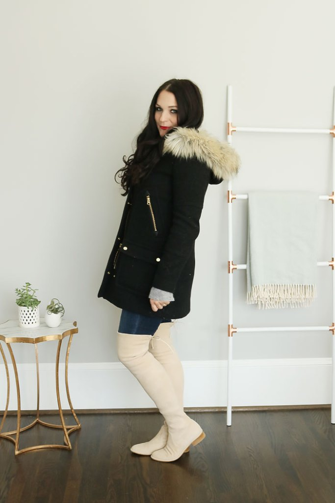 winter coats on trend and on sale, winter coats 2016, winter coat outfit, stuart weitzman lowland over the knee boots buff