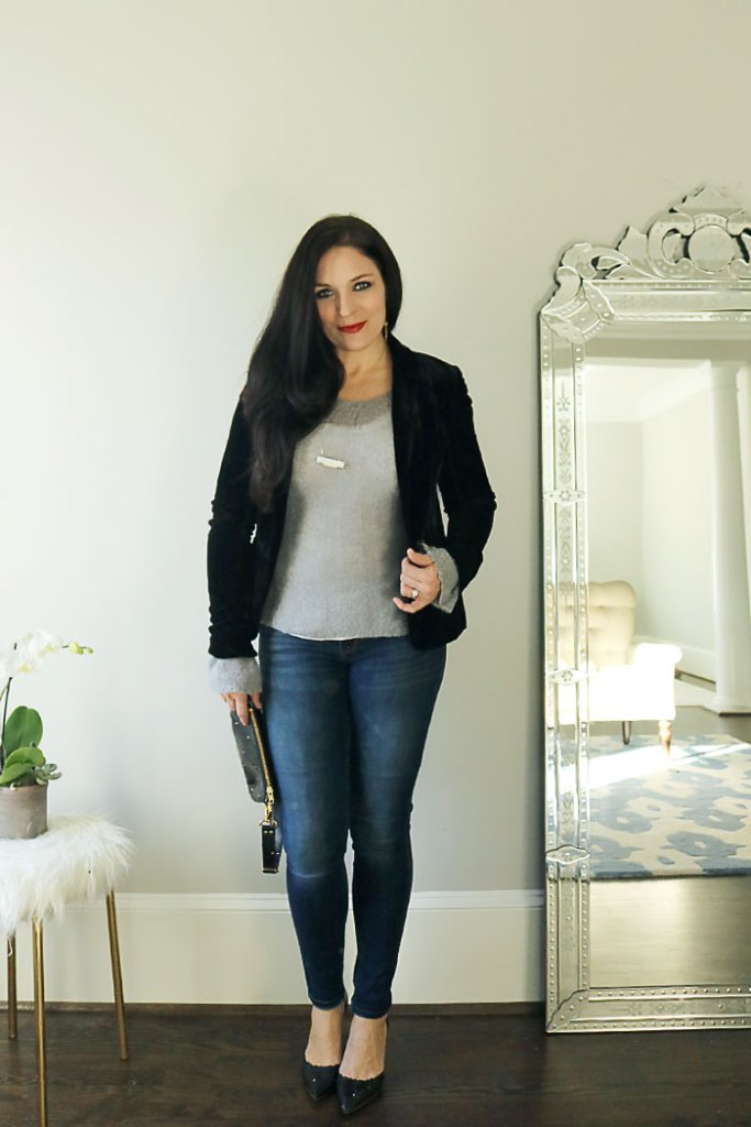 casual blazer outfit, blazer outfits for work, blazer outfits for women, Street styles, fall blazer outfits, simple blazer outfits, navy, grey, ripped jeans, red, tweed, herringbone, corduroy, tees, striped shirt