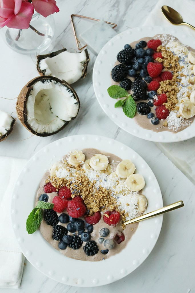 protein acai bowl, acai bowl with protein, how to make acai bowl, acai bowl with coconut and bananas, acai bowls, acai bowl healthy, acai bowl on a budget, acai bowl puree, acai bowl chocolate protein, granola, coconut, mint, berry acai bowl, rio acai bowl