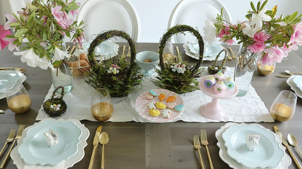 Easter Tablescape Using Flower Branches