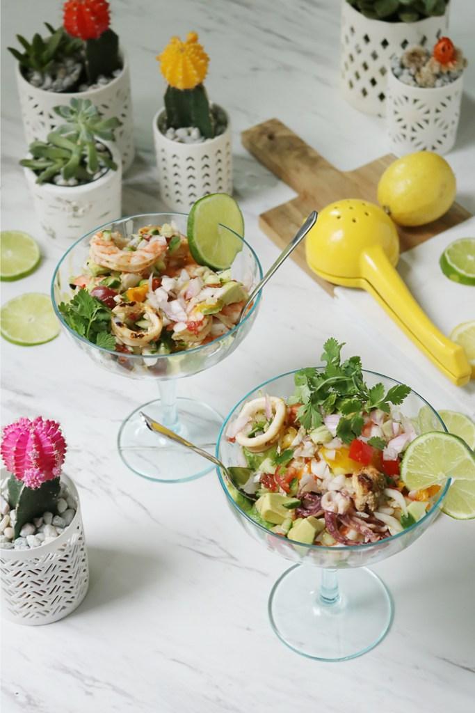 seafood mexican ceviche, shrimp mexican ceviche, ceviche, cinco de mayo recipes, mexican dish, healthy recipe